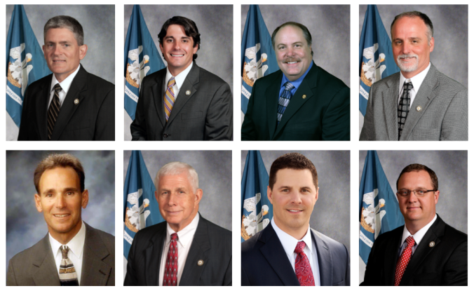 "While a handful of Tea Party-aligned anti-CCSS lawmakers filed dozens of bills seeking to undermine Common Core, every single one of their proposals went down in defeat. From top left: (from top left): Rep. Brett Geymann, Rep. Cameron Henry, Rep. Jim Morris, Rep. Bob Hensgens, Rep. Jerome ""Dee"" Richard, Rep. J. Rogers Pope, Rep. Barry Ivey, and Rep. Kenny Havard."